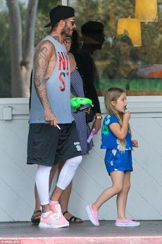 Harper Beckham wearing Vans Classic Slip-on in Perf Prism Pink Leather