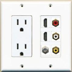 (2 GANG Power Outlet Left 15A 125V) 4HDMI 1CAT6 1COAX