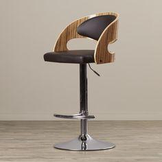 Corrigan Studio Gwynne Adjustable Height Swivel Bar Stool with Cushion   AllModern