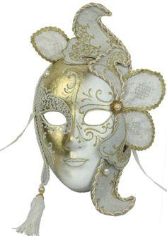 Venetian Full Face Mask Lace White Gold