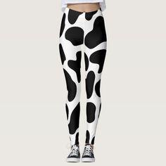 Shop Black & White Cow Print Rustic Farm Leggings created by printabledigidesigns.