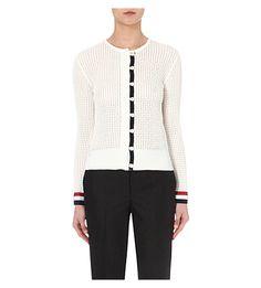 THOM BROWNE Striped-Trim Cotton Cardigan. #thombrowne #cloth #knitwear