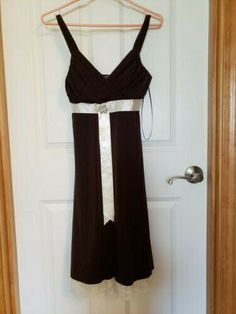 03a7b8b1ac mariposa dress brown with cream ribbon and lace.