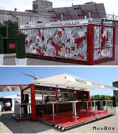 Taking portable and eco-friendly eats to the next level, Chef Daniel Noiseux's local seafood based menu has taken… Mobile Restaurant, Restaurant Design, Shipping Container Restaurant, Mobile Food Trucks, Food Kiosk, Container Design, Container Houses, Local Seafood, Food Truck Design