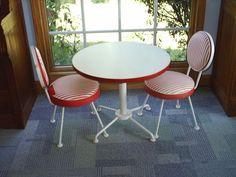 Vintage Child Ice Cream Parlor Table Chair Set Wrought Iron Malt Shoppe Bistro | eBay $199.