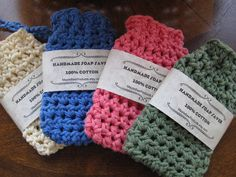 ITS A SOAP SAVER AND WASH CLOTH ALL IN ONE. SOAP ON A ROPE! This listing is for 1 (one) crocheted Soap Saver, you pick the color (soap not included but can be purchased - see below). These Handmade 100% USA Cotton Soap Savers are a wonderful way to pamper yourself. Perfect for saving soap pieces that are too small to use but too nice to throw away. Soap Savers help your bar of soap last longer and allows you to use it till the very last sliver. The soap saver is used as a washcloth which…