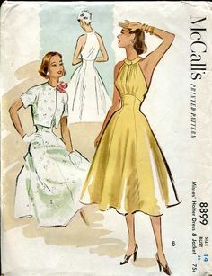 McCall's 8899; ©1952; Halter dress with bolero jacket. Featured in McCall's Pattern Book, Summer 1952