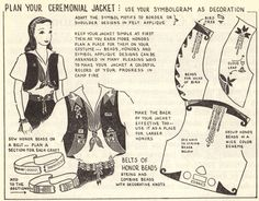 """The blue felt vest was introduced in 1946 as part of the new """"Service Costume"""", consisting of the vest, white blouse (with Camp Fire Girls emblem on pocket), navy skirt (with CFG emblem), and red neckerchief (with CFG emblem)."""