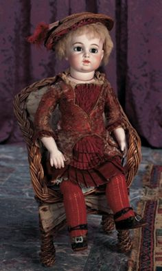 Silhouettes: 137 Superb French Bisque Bebe Bru in Original Dress and Shoes