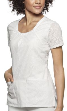 Style Code: Scoop neck top that features a contrast band around the neck, front yoke seams, patch pockets, and side vents. Back elastic for shaping completes this top. Baby Phat Scrubs, White Scrub Tops, Green Scrubs, Work Looks, How To Look Classy, Work Attire, Lace Sleeves, Snake Skin, Scoop Neck