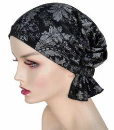 Turban Plus Abbey Cap in Silver Paisley in Cotton Knit Turban Plus. $24.99