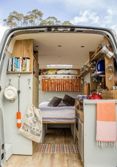 Gorgeous camper van conversion in soothing color palette