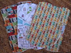 Set of 3 Burp Cloths  100% Cotton by RagamuffinsandCo on Etsy