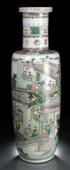 A very rare and large Famille Verte 'Eighteen Scholars' porcelain rouleau vase, China, Kangxi period