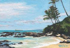 Original acrylic landscape painting of palm trees and blue lagoon Hidden Beach, Maui, Hawaii on Etsy, $75.00