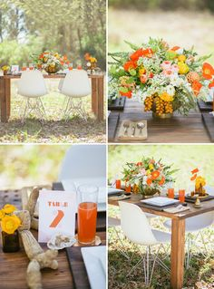 Table setting -- wood tables, plastic chairs, orange and green and white centerpiece
