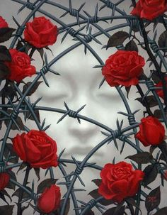 This is awesome-barbed wire and roses