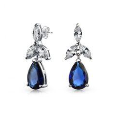 3fd8b861b Blue Large Teardrop CZ Chandelier Earrings Simulated Sapphire Cubic  Zirconia Prom Pageant Statement Sterling Silver