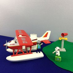 Vintage Playmobil Seaplane Floatplane Airplane with Windsock