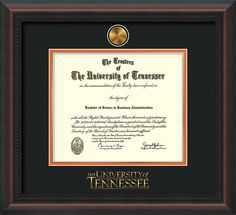 University of Tennessee - Knoxville - Diploma Frames : w/Medallion & Wordmark- Black on Orange mat. Click image to see more styles!
