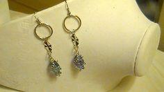 Blue Glass Charm Silver Metal Hoop Dangle by PurpleDragonCreation, $15.00