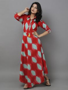 Red Green Clamp Dyed Cotton Dress
