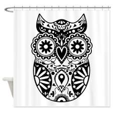 Sugar Skull Style Owl Shower Curtain for