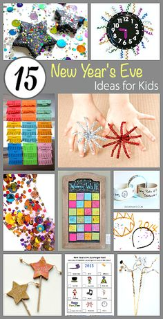 15 New Year's Eve Ideas for Kids: Creative crafts and activities for children for the new year including countdown clock. festive playdough, a wishing wall and more! New Years With Kids, Kids New Years Eve, New Years Party, New Year's Eve Activities, Craft Activities For Kids, Crafts For Kids, Children Crafts, New Year's Eve Crafts, Holiday Crafts
