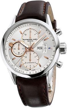 RAYMOND WEIL Watch, Men's Swiss Automatic Chronograph Freelancer Brown Leather Strap 42mm 7730-STC-65025