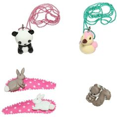 Pop Cutie Kids-girls Animals Ring, Necklaces & Hairclips Set ($64) ❤ liked on Polyvore featuring multicolor