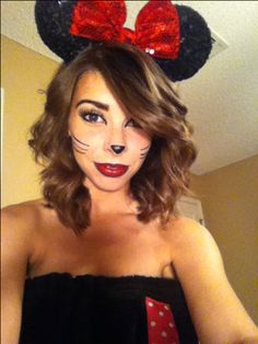 Easy Minnie Mouse or cat make up! Red lipstick, black eye liner, liquid liner and fake lashes.