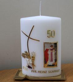 Zum goldenen Priesterjubiläum Candle Sconces, Pillar Candles, Wall Lights, Petra, Decor, Candles, Priest, Communion, Wedding