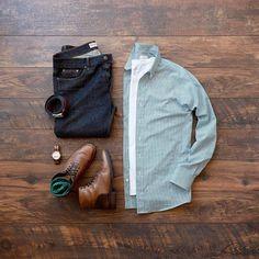Shirt: Pete Allen Shirts // T-Shirt: Mossimo (similar) // Denim: Hart N Dagger // Boots: Thursday Boots // Belt: Fossil // Socks: Ties.com // Watch: Jord Watches