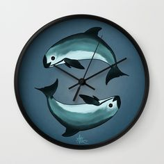"""Wall Clock • """"Spiraling"""" Vaquita Porpoise art by wildlife artist Amber Marine. The vaquita is on the brink of extinction, to learn about the vaquita and how you can help, visit http://www.nmmf.org/VaquitaCPR.html •••"""