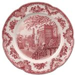 Johnson Bros Old Britain Castles pink from the traditional English china specialists. Johnson Bros, English China, Britain, Decorative Plates, Platter, Tableware, Castles, Charger, Red