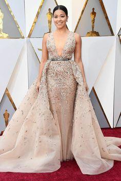 Gina Rodriguez in Zuhair Murad Oscars 2018 Red Carpet Fashion Gina Rodriguez, Sexy Dresses, Beautiful Dresses, Nice Dresses, Fashion Dresses, Vestidos Oscar, Vestidos Sexy, Celebrity Gowns, Celebrity Red Carpet