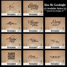 Always Kiss Me Goodnight Vinyl Decal Wall Sticker Words Quote Love ...