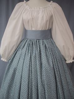 Calico Long Skirt Historical Costume - Pioneer, Frontier, Colonial, Civil War - Country Blue Print Cotton Handmade on Etsy, $38.00