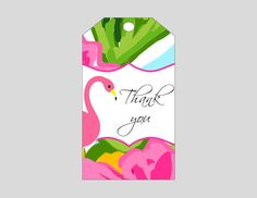 Flamingo Gift Tag  Printable gift labels  Can be by wackykracker