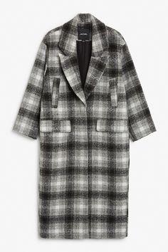 Monki Image 1 of Wool coat in Grey