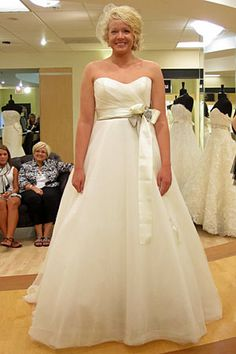Amsale Ball Gown w/ Ruched Bodice & Sash. Dress details: http://ow.ly/9U46G #SYTTD #Weddings