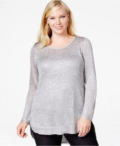 067b5048e162 Alfani Plus Size Sequined Long-Sleeve Metallic Sweater