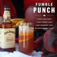 "Jack Daniel's Honey ""Fumble Punch"" ~~ Ingredients_ 6 Parts Jack Daniel's Tennessee Honey, 3 Parts Orange Juice, 1 Part Cranberry Juice, Orange Slices _Directions: Mix all parts, add orange slices.bottoms up! Whisky Cocktail, Whiskey Drinks, Cocktail Drinks, Cocktail Recipes, Alcoholic Drinks, Bebidas Jack Daniels, Jack Daniels Drinks, Jack Daniels Honey Recipes, Jack Daniels Punch Recipe"