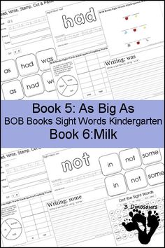 Early Reading Printables BOB Books Sight Words Kindergarten Book 5 & 6 - sight words: as, had, was, in, not, some - 3Dinsoaurs.com