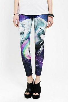 BDG Cosmic Galaxy Unicorn Leggings Legs Pants Tights Amazing Print Made in USA