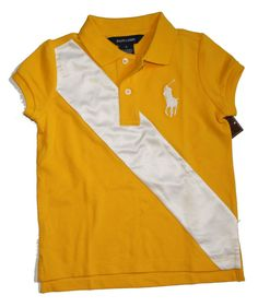 NWT Ralph Lauren Girls Polo Shirt Big Pony Banner Short Sleeves Cotton Size  5