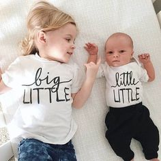 "@littlefacesapparel ""Little little + big little perfection @jkbelove"" - Matching sibling tees, matchine onesies, baby brother onesies, baby sister shirt, big brother tee, big sister shirt."