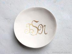 Gold Monogram Ring Bowl White Custom Clay Ring by AnnKayDesign