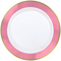 Colorful Border Premium Tableware - Gold Trim Premium Plastic Plates - Party City