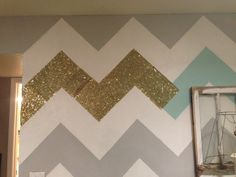 accent wall, except keep just the grey and white chevron. Paint the other walls grey then add decorations